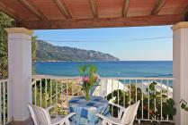 Detailed Descrition of Corfu Hotel Stellianos in Agios Georgios Pagon (Pagi) in direct beachfront location with beautiful sea view with many pictures